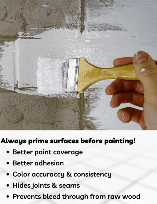 Primer on paintbrush with text saying please prime