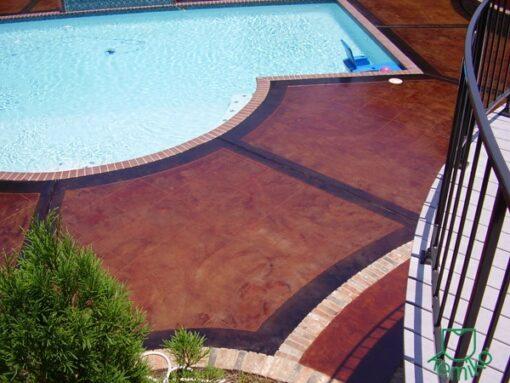 Kemiko Stone Tone Concrete Stain- English Red w: Black Stain border